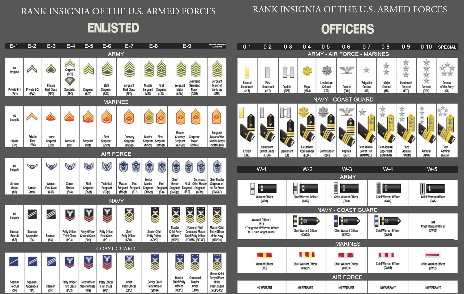 image for US Military Ranks Officer and Enlisted